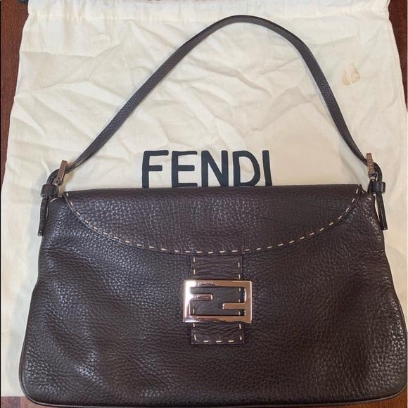 9bc787de544c Fendi Handbags - Fendi leather selleria baguette bag